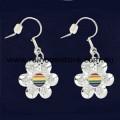 Rainbow Disc Silver Plate Flower Pair Earrings Lesbian Gay Pride