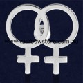 Female Symbol Silver Plated Lapel Badge Pin Lesbian Pride