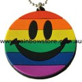 Rainbow Rubber Smiley Happy Face Necklace Lesbian Gay Pride