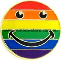 Rainbow Happy Face Badge Lapel Pin Lesbian Gay Pride