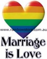 Rainbow Heart Marriage is Love Sticker Adhesive Gay Lesbian Pride