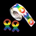 Rainbow Ribbon Plastic Coated Paper Adhesive Stickers Roll of 100 Lesbian Gay Pride
