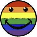 Rainbow Happy Face Badge Button 3cm 1.1 inch Diameter Lesbian Gay Pride