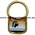 Bear Flag Solid Brass With Gold Tone Memory Cell Padlock Key Chain Bear Gay Pride