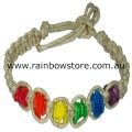 Rainbow Square Chips Hemp Bracelet Lesbian Gay Pride