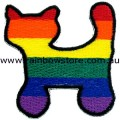 Rainbow Cat Embroidered Iron On Patch Gay Lesbian Pride