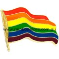 Rainbow Wavy Flag Badge Lapel Pin Gay Lesbian Pride