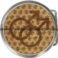 Alder Wood Double Male Round Belt Buckle Gay Lesbian Pride