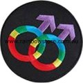 Rainbow Male Symbol Black Background Embroidered Iron On Patch Gay Pride