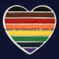 Rainbow People Of Colour Silver Plate Heart Badge Lapel Pin POC Pride