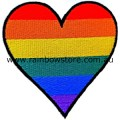 Rainbow Heart Embroidered Iron On Patch Gay Lesbian Pride