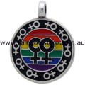 Lesbian Pride Rainbow Multi Female Symbols Pewter Pendant Necklace