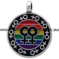 Lesbian Pride Rainbow Multi Female Symbols Pewter Pendant Necklace
