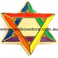 Rainbow Star Of David Lapel Pin