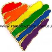 Rainbow Abstract Heart Lapel Pin