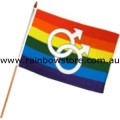 Male Symbols Flag On Stick Screened 12 inch by 18 inch Lesbian Gay Pride