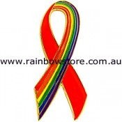 Red With Rainbow Ribbon LARGE Lapel Pin