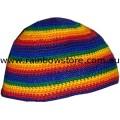 Gay Lesbian Rainbow Hand Made Beanie Skull Multi Stripe Hat Lesbian Gay Pride