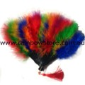 Rainbow Feather Large Black Hand Fan Gay Lesbian Pride