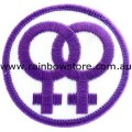 Double Female Symbol White Background Embroidered Iron On Patch Lesbian Pride