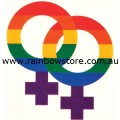 Rainbow Double Female Symbols Temporary Tattoo Lesbian Pride
