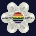 Rainbow Flower Silver Plated Badge Lapel Pin Lesbian Gay Pride