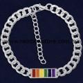 Rainbow Bar Silver Plated Bracelet Lesbian Gay Pride