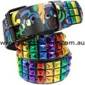 Rainbow Metallic Stud Punk Belt MEDIUM Gay Lesbian Pride