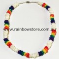 Rainbow And White Square Chips Necklace Lesbian Gay Pride
