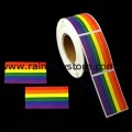 Rainbow Rectangle Plastic Coated Paper Adhesive Stickers Roll of 100 Lesbian Gay Pride