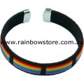 Rainbow And Black With Silver Tips Bracelet Lesbian Gay Pride