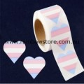 Transgender Heart Plastic Coated Paper Adhesive Stickers Roll of 100 Trans Pride