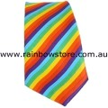 Rainbow Tie Diagonal Stripe Polyester Hand Made Gay Lesbian Pride