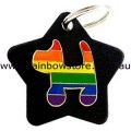 Gay Pride Rainbow Dog On Black Metal Star Pet Tag