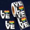 Rainbow Heart LOVE Plastic Coated Paper Adhesive Stickers Packet of 10 Gay Lesbian Pride