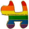 Rainbow Dog Badge Lapel Pin Gay Lesbian Pride