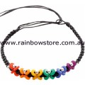 Rainbow Beads Black Platted Butterfly Bracelet 8 inch Lesbian Gay Pride