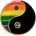 Rainbow Yin Yang Badge Lapel Pin Lesbian Gay Pride