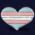 Transgender Heart Silver Plated Lapel Badge Pin Trans Pride