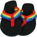 Flip Flops Rainbow Strap Medium Thongs 11.4 inch Lesbian Gay Pride