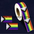 Progress Pride Rectangle Plastic Coated Paper Adhesive Stickers Roll of 100 Gay Lesbian Pride