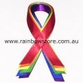 Rainbow Ribbon Satin Lapel Pin Lesbian Gay Pride