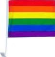 Rainbow Car Flag 12 inch by 16 inch With Window Mount Gay Lesbian Pride