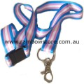 Transgender Ribbon Long Lanyard Safety Neck Release With Ring And Claw Clasp Trans Pride