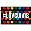 Love Wins Rainbow Hearts Flag Screened 3 feet by 5 feet Gay Lesbian Pride