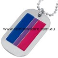 Bisexual Flag Military ID Tag With Silver Tone Ball Chain Necklace Bi Pride