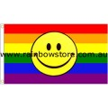 Rainbow Happy Smiley Face Flag Deluxe Polyester 3 feet by 5 feet Lesbian Gay Pride