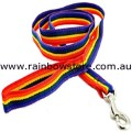LARGE DOG Pet Lead Leash Rainbow Nylon Webbing Lesbian Gay Pride