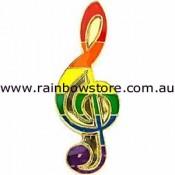 Rainbow Music Lapel Pin