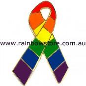 Rainbow Ribbon Lapel Pin